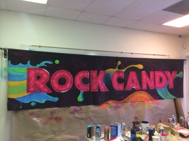 'Rock Candy' hand-painted banner