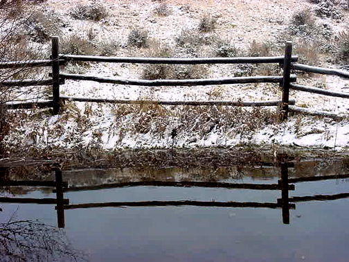 snowy fence reflection 5 x 7